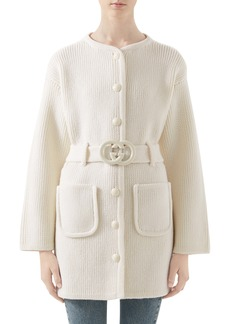 Gucci Belted Long Wool Cardigan