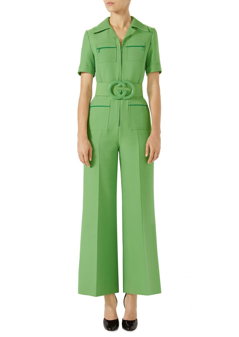 1ce85682b460 Gucci Gucci Belted Wide Leg Wool & Silk Cady Jumpsuit | Dresses