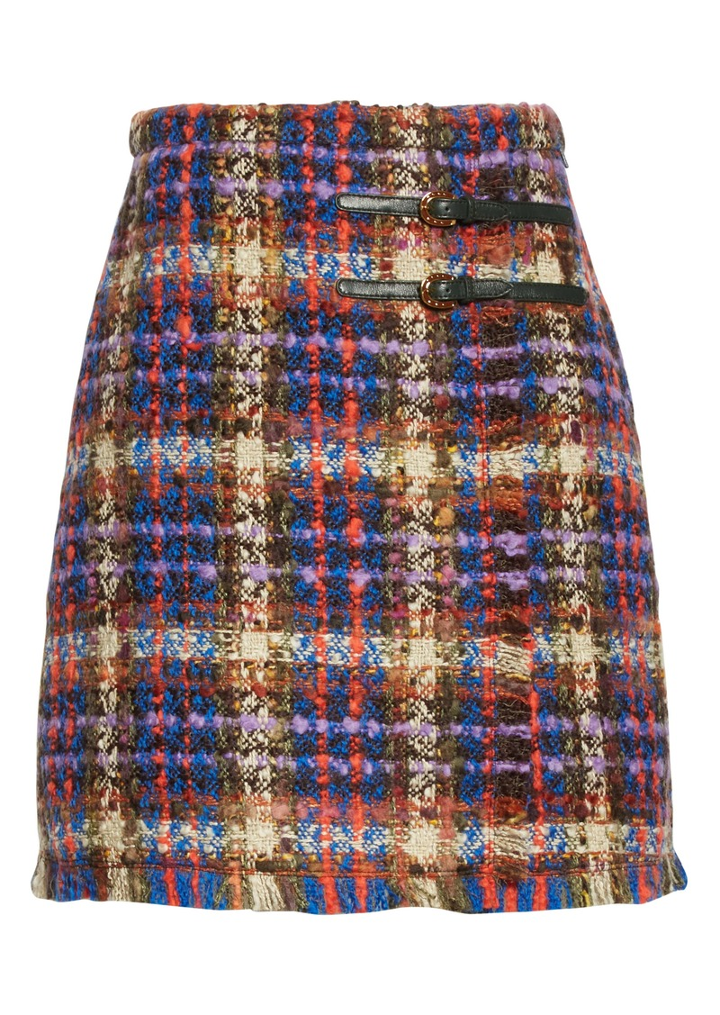 Gucci Belted Wool Blend Tweed Miniskirt