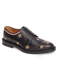 Gucci Embroidered Leather Brogue Shoe (Men)