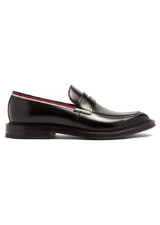 Gucci Beyond Web-striped embellished leather loafers