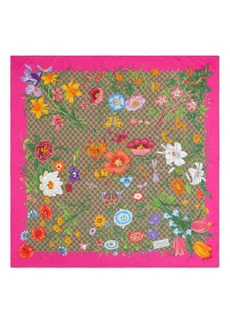 Gucci Big Flora Fluorescent Silk Scarf