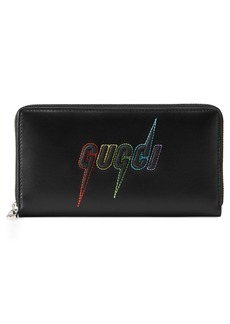 Gucci Blade Embroidered Zip Around Wallet
