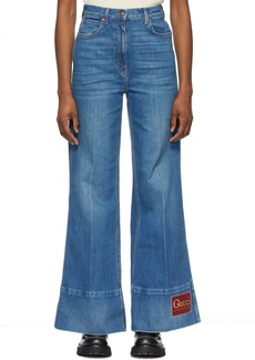 Gucci Blue Denim Washed Flare Jeans