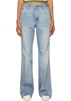 Gucci Blue Eco-Washed Embroidered Cat Jeans