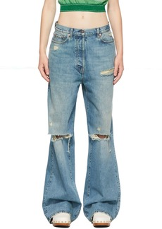 Gucci Blue Eco-Washed Organic Denim Ripped Jeans