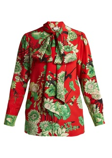 Gucci Botanic-print silk blouse