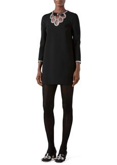 Gucci Bow Detail Crystal Embellished Tunic Dress