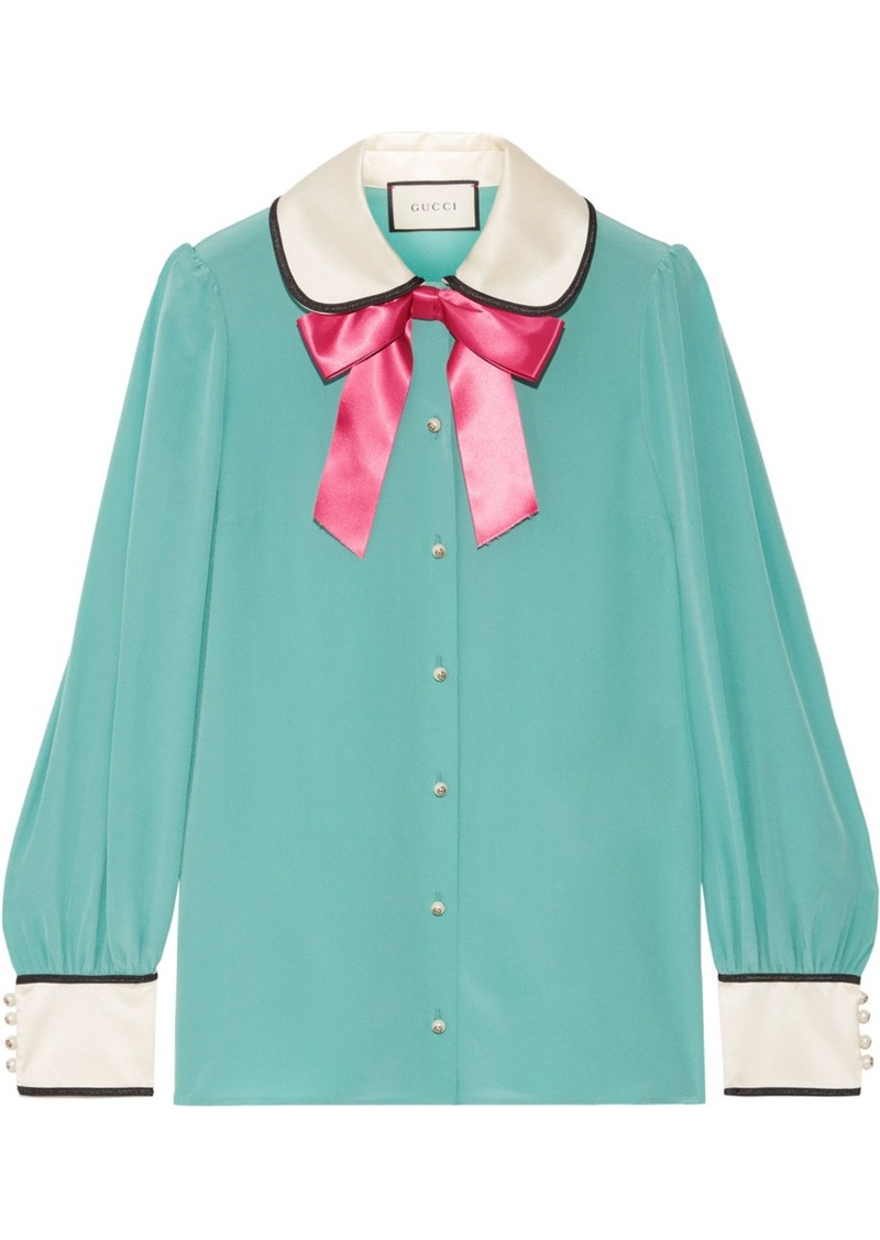15a152cf8fbb38 Gucci Bow-embellished satin-trimmed silk crepe de chine blouse ...