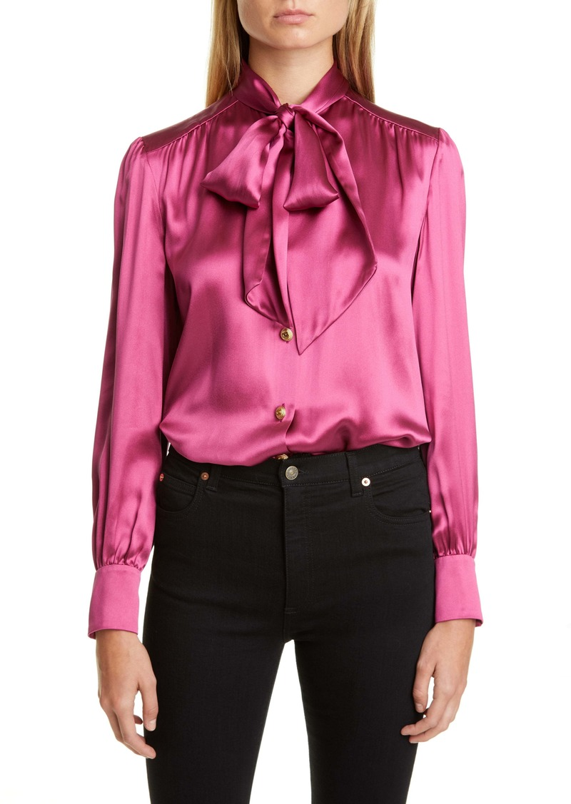 Gucci Bow Neck Silk Blend Satin Blouse