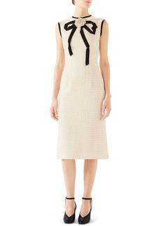 Gucci Bow Tweed Midi Dress