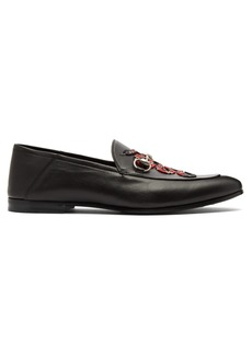 Gucci Brixton Kingsnake-embroidered leather loafers