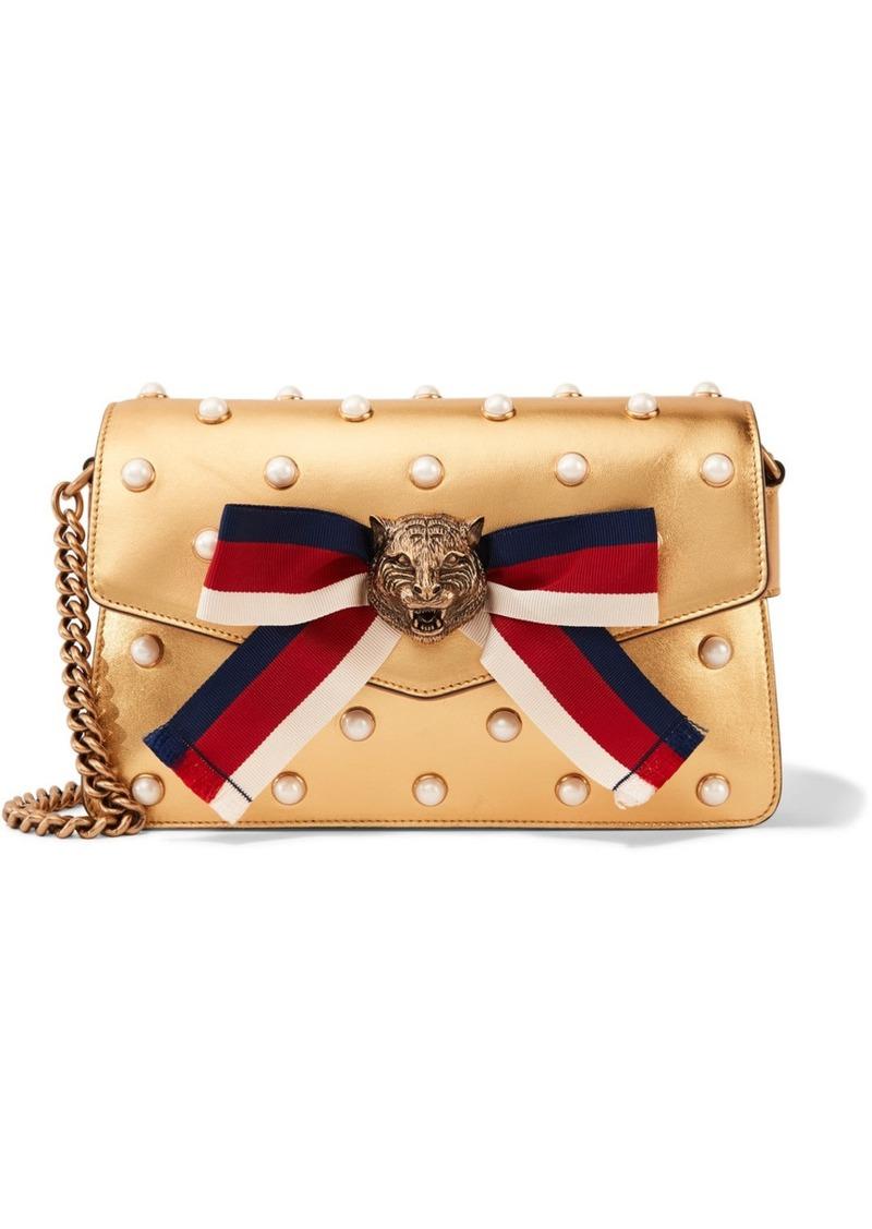38286d667897 Gucci Gucci Broadway embellished metallic leather shoulder bag ...
