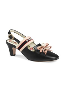 Gucci Buffy Logo Strap Slingback Pump (Women)