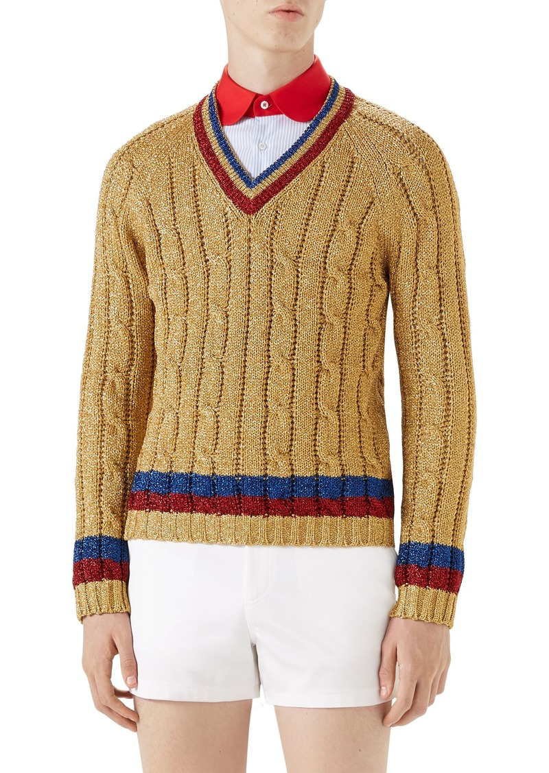Gucci Gucci Cable Knit V Neck Sweater Sweaters