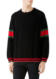 Gucci Cable Knit Wool Crewneck Sweater