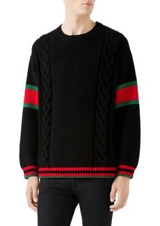 Gucci Web Stripe Cable Knit Wool Sweater