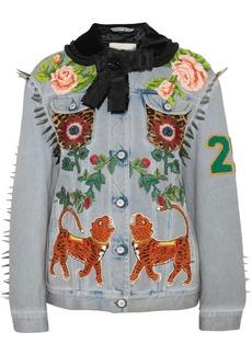 Gucci Calf hair-paneled embellished denim jacket