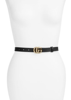 Gucci Calfskin Leather Skinny Belt