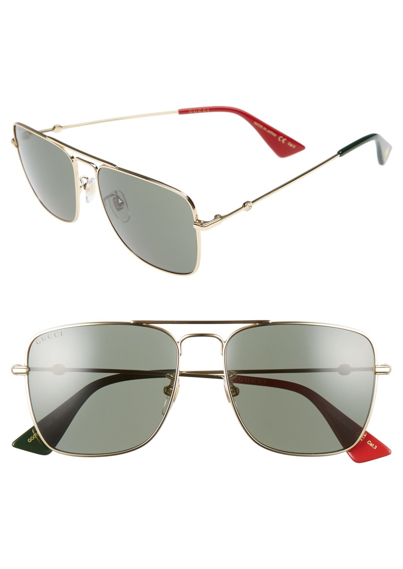 6891371d5dc Gucci Gucci Caravan 55mm Square Aviator Sunglasses