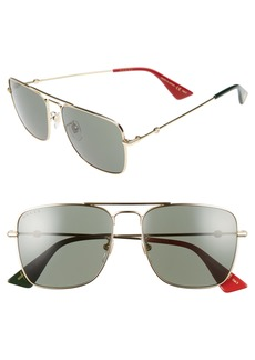 Gucci Caravan 55mm Square Aviator Sunglasses