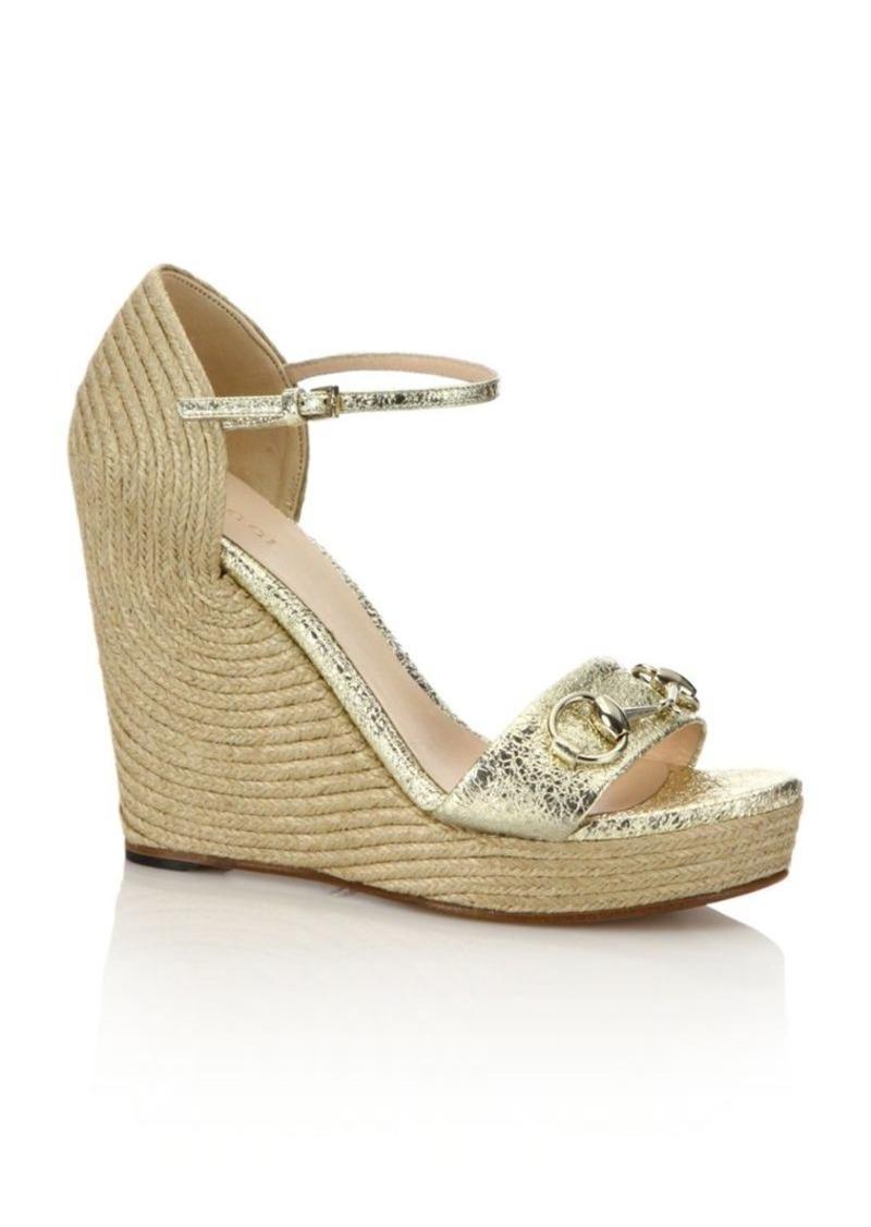 c357a690890e Gucci Gucci Carolina Metallic Leather Corded Wedge Sandals