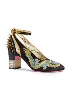 Gucci Caspar Embroidered Ankle Strap Pump (Women)