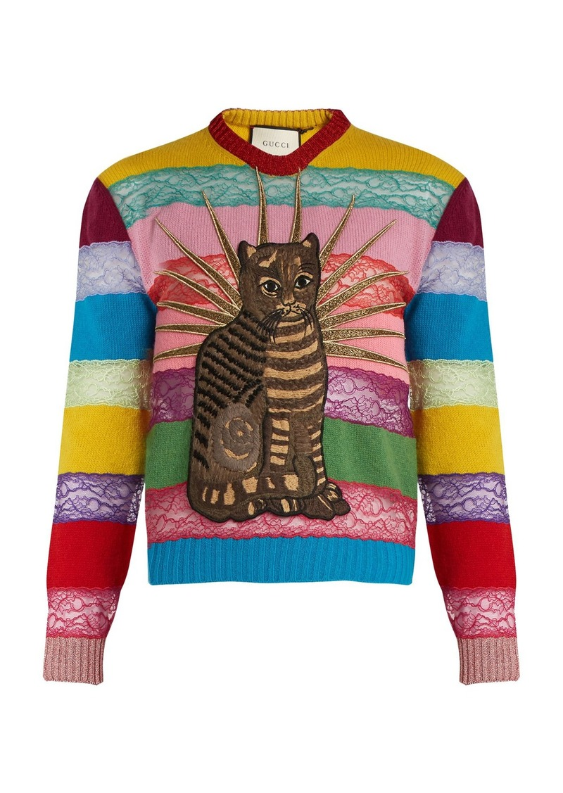 4756de6927e Gucci Gucci Cat-appliqué panelled lace and wool sweater