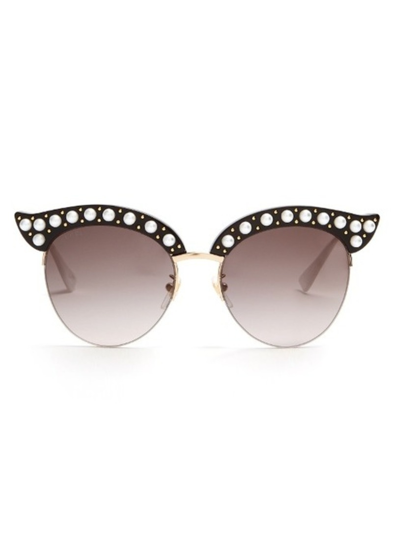 e40db27974 Gucci Gucci Cat-eye pearl-embellished metal sunglasses
