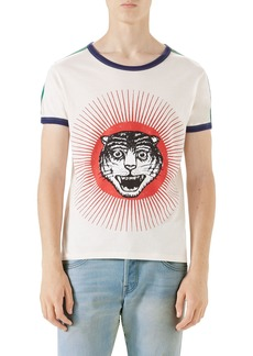 Gucci Cat Graphic Ringer T-Shirt