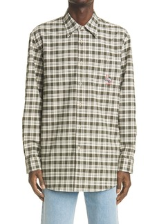 Gucci Cat Patch Check Cotton Flannel Button-Up Shirt