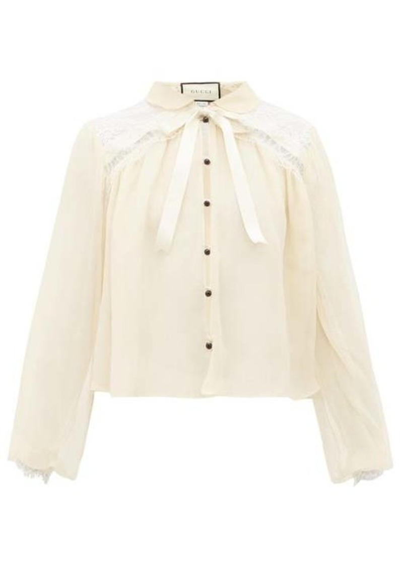 Gucci Chantilly-lace and silk-chiffon blouse