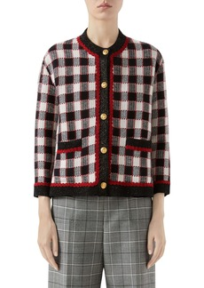 Gucci Check Knit Wool Jacket