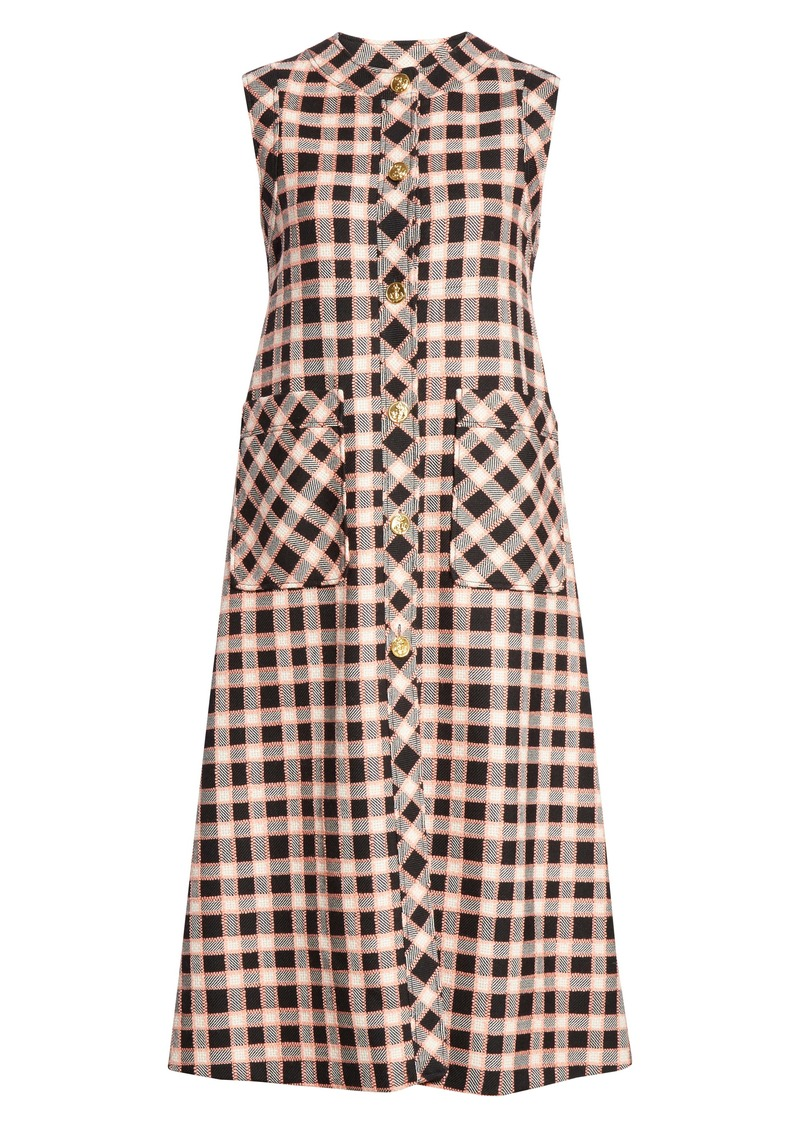 Gucci Check Wool Tweed Midi Dress