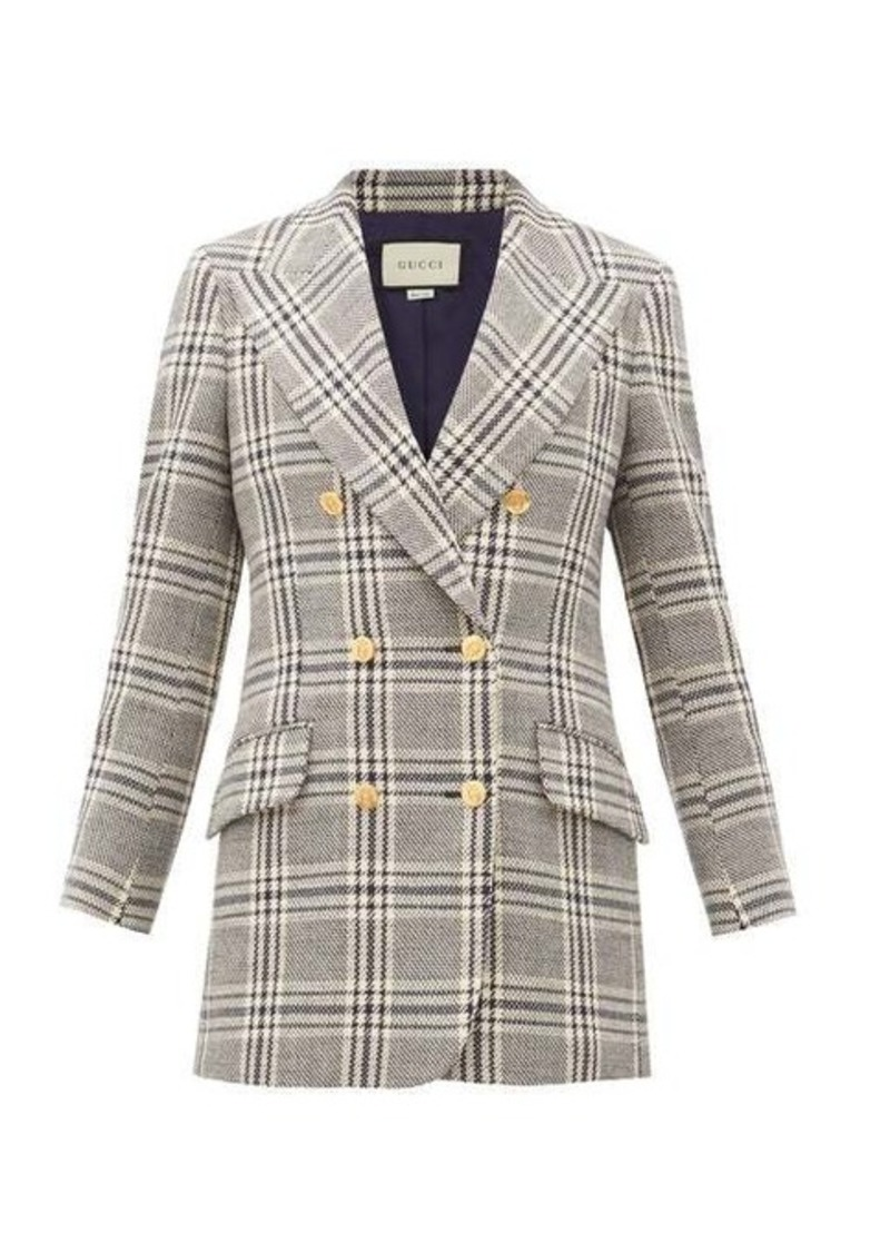 Gucci Checked wool-blend double-breasted jacket