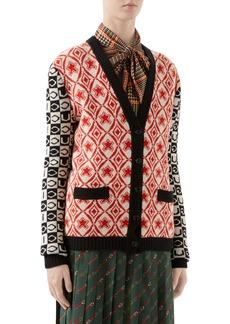 Gucci Checkerboard Jacquard Wool Cardigan