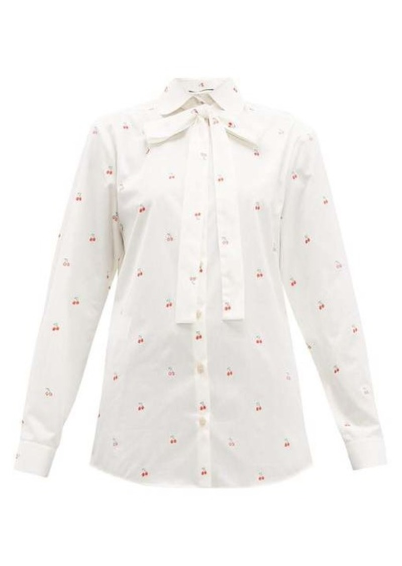 Gucci Cherry fil-coupé cotton blouse