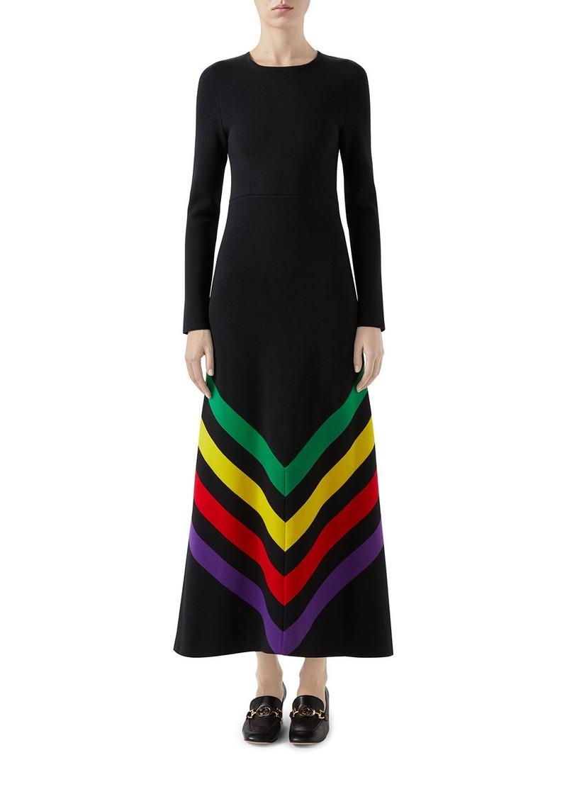 Gucci Chevron-Embroidered Silk-Cotton Dress