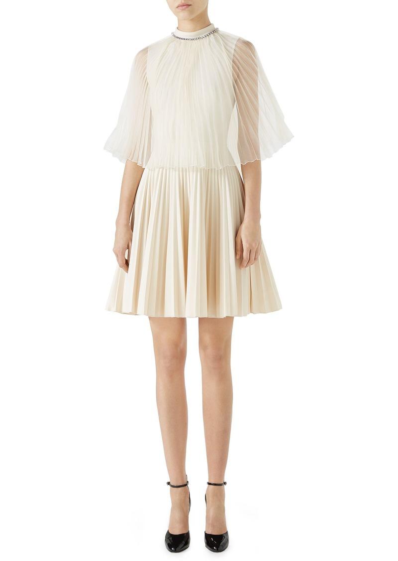 e949e698194 Gucci Gucci Chiffon Cape Pleated Dress