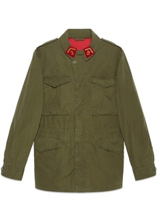 Coated parka with Gucci logo