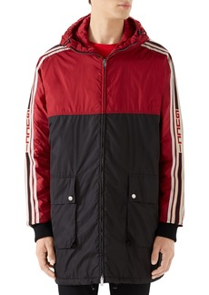 Gucci Colorblock Branded Sleeve Hooded Jacket
