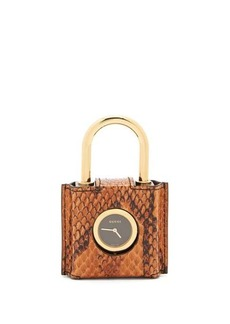 Gucci Constance engraved Plexiglas padlock watch