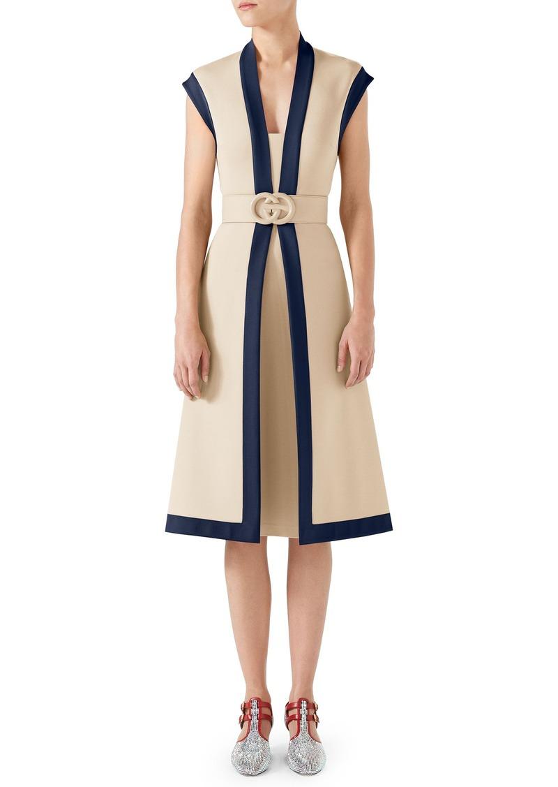 679e8884e8 Contrast Trim Belted Dress