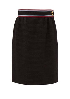 Gucci Contrast-waistband tweed skirt