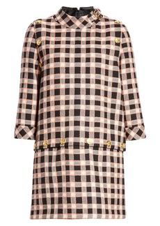Gucci Convertible Plaid Wool Shift Dress