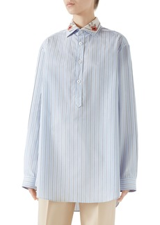 Gucci Cotton Poplin Top with Detachable Embroidered Collar