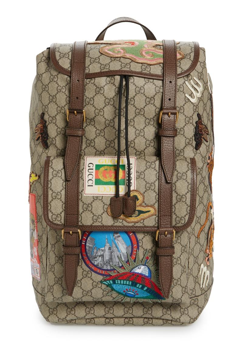 cc1d7d79cfcd54 Gucci Gucci Courier Flap Closure Supreme Canvas Backpack | Bags
