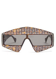 Gucci Crystal-embellished shield acetate sunglasses