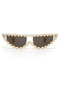 Gucci Crystal-embellished cat-eye metal sunglasses