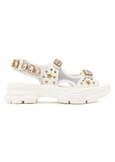 Gucci Crystal-embellished leather and mesh sandal